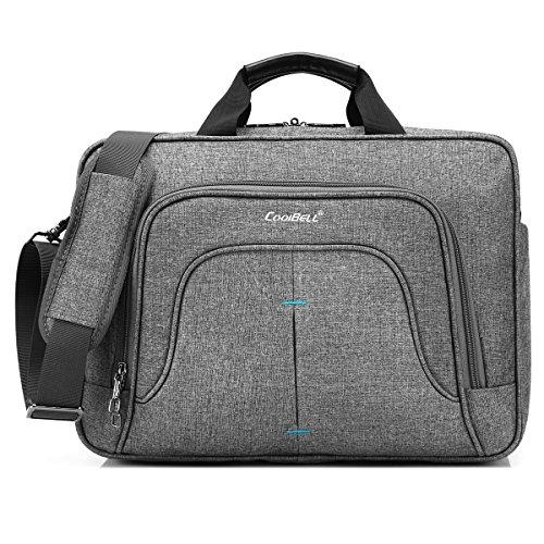 CoolBell Multi-Fach Aktentasche Messenger Bag Notebook Schultertasche Business Briefcase Nylon Umhängetasche 15,6 Zoll Laptop Computer Tasche für Laptop/MacBook/Männer/Frauen (Grau) -