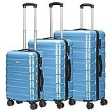 Amasava Set de 3 Valises Rigides Légeres à 4 roulettes PC+ABS, Bagage Cabine + 65cm + 75cm, Bleu