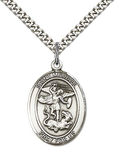 Sterling Silver St. Michael the Archangel Pendant with 24