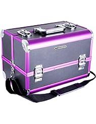 Songmics Beauty case malette à maquillage avec un miroir et 3 tiroirs et un compartiment particulier de brosse JBC221B