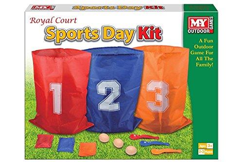 3 in 1 Sports Day Kit Sack Rennen Ei und Löffel Race Set Sitzsack werfen Spaß Outdoor Garten...