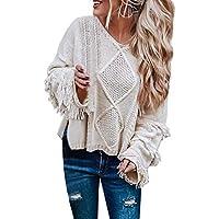 Geili Damen Langarm Pullover Einfarbig V-Ausschnitt Franse Strickshirt Loose Longsleeve Sweater Herbst Winter... preisvergleich bei billige-tabletten.eu
