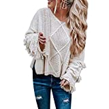 CICIYONER Herbst Winter Bustier Oberteile Damen Einfarbig Wort Schulter Crop T-Shirt Tops Reizvolle Schulterfrei Bolero Pulli Langarm Pullover Blouse Tuniken Hemden Sweatshirt S-XL