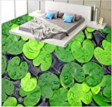 3D Boden wandbild Fototapete des Badezimmers 3D wasserdichte verdickte Abnutzung rutschfeste selbstklebende grüne Blätter Bodenmalerei moderne Kunst-Kücheboden wandaufkleber