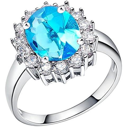Tailloday 14 mm * 16 mm de plata de Ley de 925 de la joyería de la gran diamante simulado ferroprusiato Color de rosa rojo piedra Amatista anillo joyas para mujeres anillos de Color