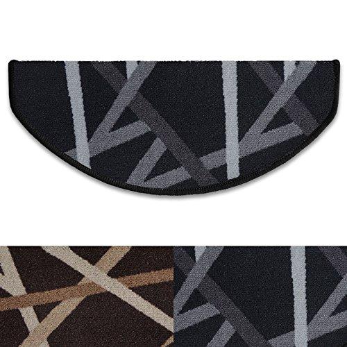 Stufenmatten Budget | Treppenschutz mit Retro Streifenmuster | Treppenteppich im günstigen 15er Sparset | in zwei Farben (anthrazit)