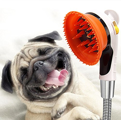 DAN Haustier Duschkopf, Hund Waschen Sprayer + Massagegerät + Grooming 3 In 1 Wasser Sparen Handheld Bad Werkzeug Shampoo Pinsel