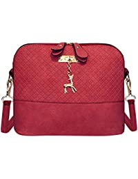 Zibuyu Women Fashion Crossbody Bag PU Plaid Deer Pendant Shoulder Bag(Red)