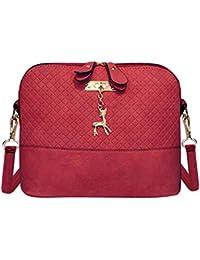 Zibuyu Women Fashion Crossbody Bag PU Plaid Deer Pendant Shoulder Bag(Red)