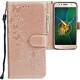 CLM-Tech kompatibel mit Motorola Moto G5S Plus Hülle, PU Leder-Tasche mit Stand, Kartenfächern, Lederhülle Kunstleder, Schmetterlinge Pusteblume Rosegold