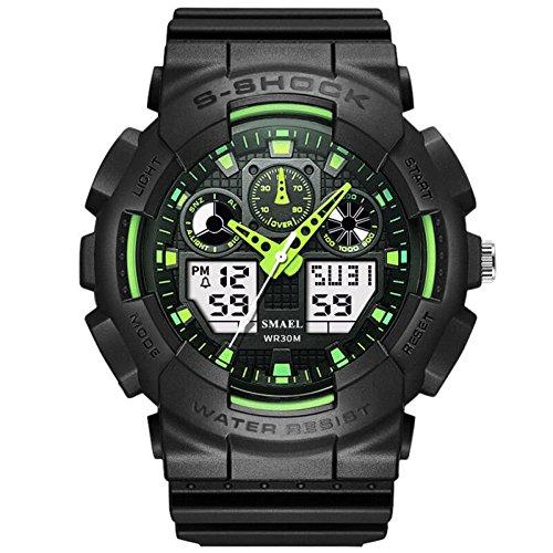 Digital Herrenuhr Sport Militäruhren Männer Analog Quarz Wasserdichte Uhr Männer Uhren Hombre,Blackgreen