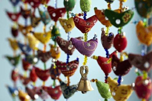 Paper High - Tira vertical con pájaros de tela y campanillas (10 pájaros), estilo de la India