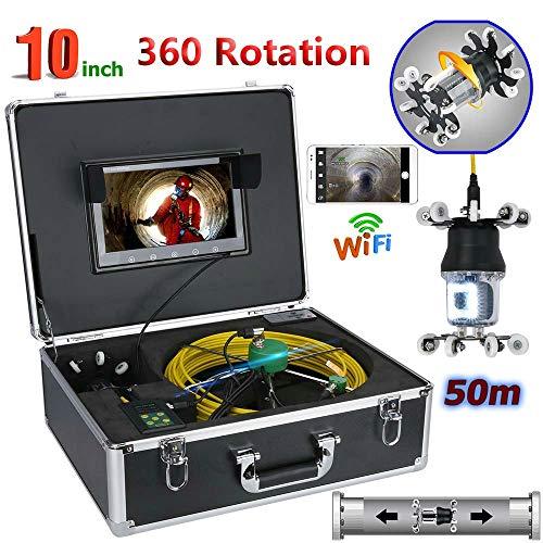 TKFY 10-Zoll-WiFi-Rohr-Inspektions-Videokamera-Abfluss-Abwasserkanal-Rohrleitung industrielle Endoskopunterstützung Android/IOS 360 Umdrehung 50 / 30M HD CCD 800TVL,50M Ccd-farb-industrie-video-kamera