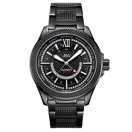 JBW J6365-10C - Reloj de pulsera para hombre de 10 años de aniversario GMT Globetrotter de 0,21 quilates con diamante