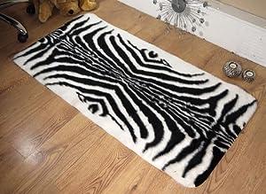 Zebra animal print faux fur sheepskin oblong rug 70 x 140 cm from Rugs Supermarket