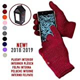 Handschuhe Weicher Capacitive Winter Tastberührungsschirm - Unisex- - Für Smartphone, Gefängnis-Zelle und Tablette - sich Einhüllendes eingeschlossenes Geschenk! - DUNKELROT / BORDEAUX / GRANATE
