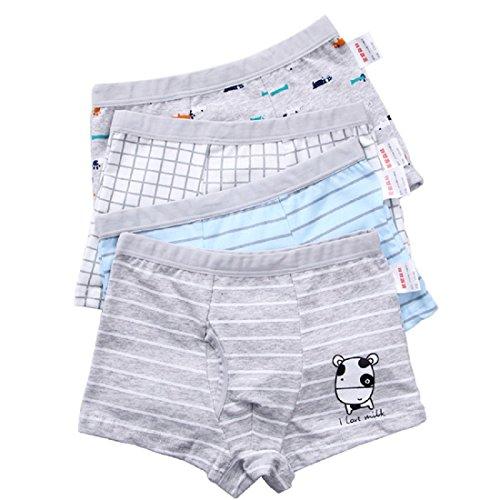 Pulchram Jungen Boxershorts Kinder Unterwäsche aus Baumwolle Junge Unterhose Slips Boxer Schlüpfer für 2-11 Jahre (160(Höhe:140-155cm), 4farbe)