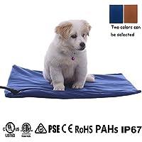 Qiu's home Cojín de calefacción eléctrica para mascotas,Almohadilla de calentamiento para Perros y Gatos con 7 Niveles de Temperatura Ajustables(50*50cm) (Azul)