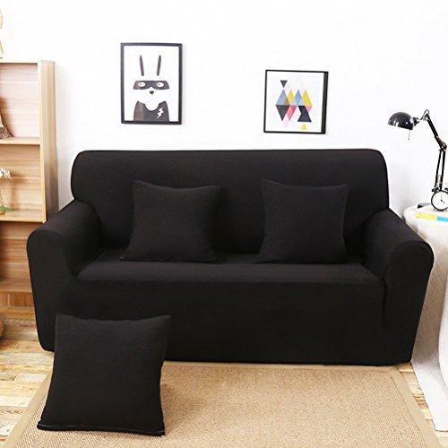 Winomo fodera per divano 2 posti alta elasticità copertine ispessisci divano copertura della sedia (nero)