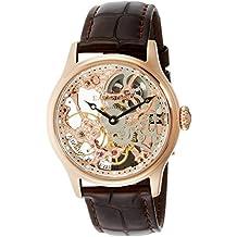 Thomas Earnshaw ES-8049-03 - Reloj para hombre con esfera analógica en oro rosa con volante visto y correa de cuero marrón
