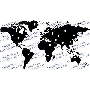 Vinilo Pared Mapa Mundi con Puntos Google Adhesivo Atlas Silueta Extraíble Bricolaje Mural Pegatina Regalo Surtido 50x27cm