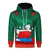 Mantel Weihnachten Herren,❤️Binggong Herren 3D Weihnachts Drucken Langarm Kapuzen Sweatershirt Top