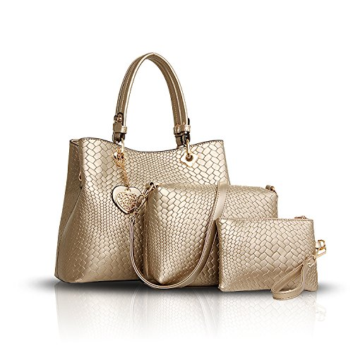 Sunas Borsa delle donne di modo 2017 retro 3 insiemi di sacchetto di spalla del sacchetto delle donne + sacchetto del messaggero + raccoglitore Oro