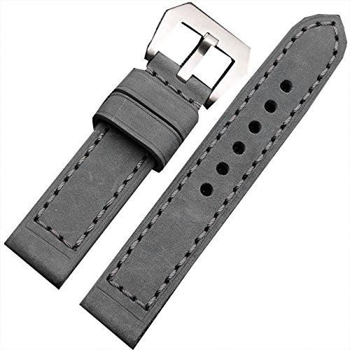 Grau Echtes Leder Armbanduhr Uhrenarmband Herren Edelstahl Schnalle 26mm (Leder Armbanduhr Panerai)