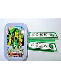 1oz Bob Marley (Color Gris), diseño Tabaco/Bolsillo/Lata De Stash + 2Ezee verde estándar folletos Combo se vende por Trendz