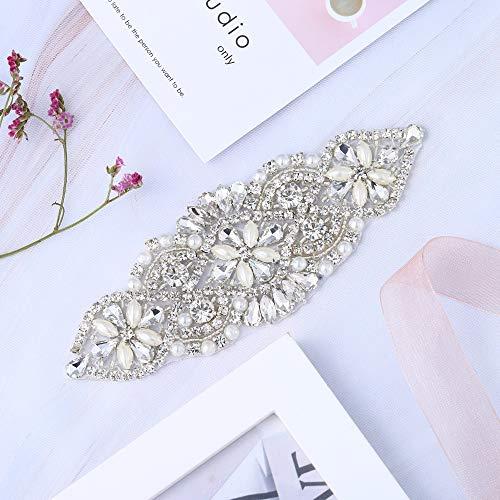 Kristalle und Strass Eisen-auf Applique mit Perlen für Hochzeit Braut Gürtel Kopfstücke Strumpfbänder (Splitter mit Perlen) (Kopfstück Champagner Braut)