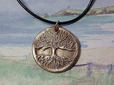 Pendentif unisexe, bijou celtique/druidique/viking/wicca/breton, Yggdrasil,arbre de vie celte, en bronze coul.or, cuir noir, aussi en bronze coul.argent ou cuivre, pour homme et femme