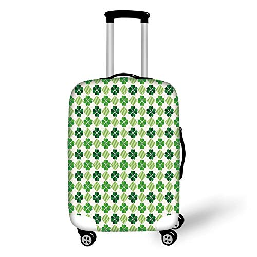 Travel Luggage Cover Suitcase Protector,Irish,Traditional Flowers Modern Design Low Poly Effects Symmetry Geometrical Decorative,Green Dark Green White,for Travel L Poly White Shell