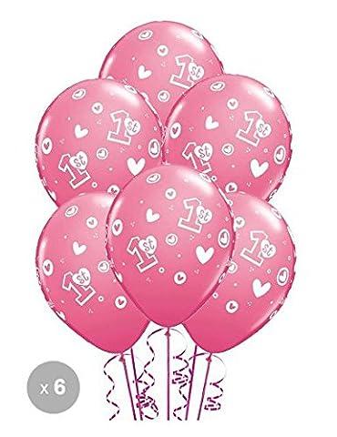 6 Latexballon Luftballon Zahlenballon Mädchen Zahl 1 pink mit weißem Aufdruck ca. 28 cm (Ballongas geeignet)