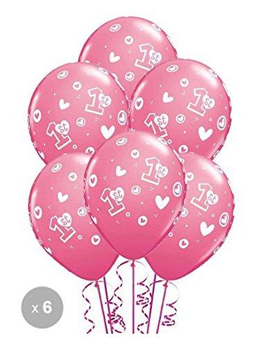 Preisvergleich Produktbild Geburtstagsballon für Mädchen, 1 Jahr, Größe ca. 28 cm, 6er Packung