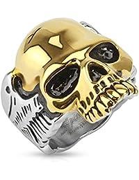 Taffstyle® Herren Biker Totenkopf Schmuck Ring zweifarbig Edelstahl Silber & Gold