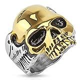 Taffstyle® Herren Biker Totenkopf Schmuck Ring zweifarbig Edelstahl Silber & Gold- Größe 60 (19.1)
