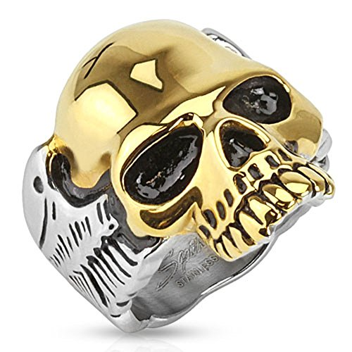 Taffstyle® Herren Biker Totenkopf Schmuck Ring zweifarbig Edelstahl Silber & Gold- Größe 67 (21.3)
