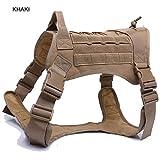 Police K9 Tactical Training Hundegeschirr Militärische Verstellbare Molle Nylon Weste,Khaki,XL
