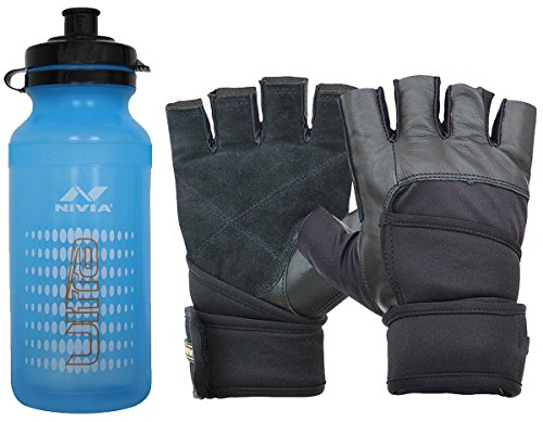 Nivia Extreme Ultra Prowrap Gym & Fitness Combo, Large (1 Pair Nivia Prowrap Gym Gloves Black/Grey, Large + 1 Nivia Ultra Sports Bottle Sipper)  available at amazon for Rs.719