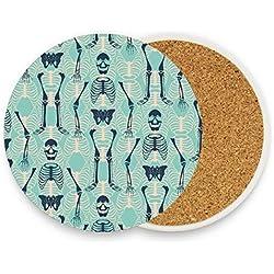 MALPLENA - Posavasos con diseño de calavera para bebidas, madera, 1, 1 piece set