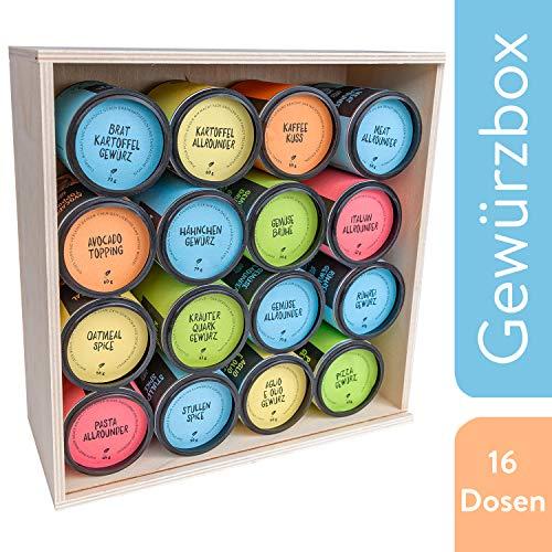 Just Spices Großes Top 16 Gewürze Set | Geschenkset in schöner Holzbox | Unsere 16 Favoriten in einer Box | Gewürzset Geschenkidee für Männer und Frauen