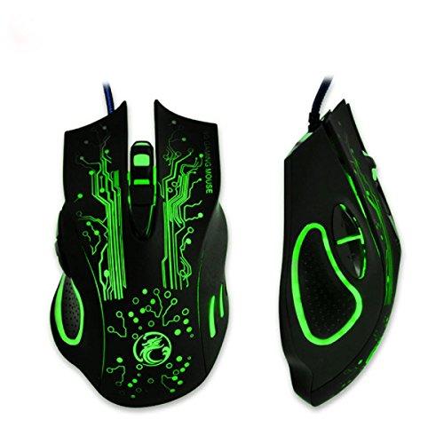 Tongshi - Ratón (Óptico, 2400 dpi, 6 botones), color negro y verde