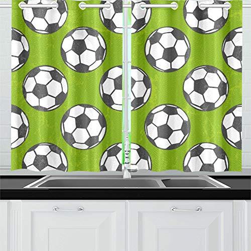 QIAOLII Fußball Eps Küche Vorhänge Fenster Vorhang Ebenen Für Café, Bad, Wäscherei, Wohnzimmer Schlafzimmer 26 X 39 Zoll 2 Stücke -