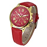 Fashion Watches ,Women Fashion Geneva Roman Numerals Faux Leather Analog Quartz Wrist Watch (one, Red)