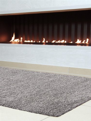 benuta Teppiche: Shaggy Langflor Hochflor Teppich Swirls Grau 160x160 cm - schadstofffrei - 100% Polypropylen - Uni - Maschinengewebt - Wohnzimmer