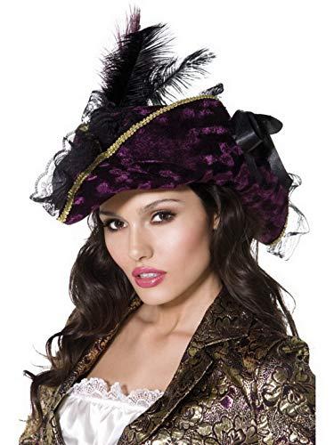 Confettery - Kostüm Accessoires Zubehör Damen Edler Piraten Hut mit Feder und Spitze, perfekt für Karneval, Fasching und Fastnacht, Violett