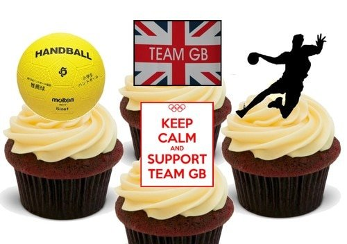 Olympia Team GB Handball Mix - 12 essbare hochwertige stehende Waffeln Karte Kuchen Toppers Dekorationen, Olympics Team GB Handball Mix - 12 Edible Stand Up Premium Wafer Card Cake Toppers Decorations