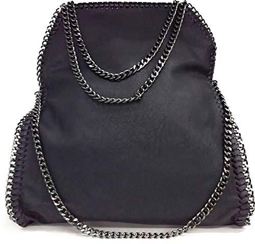 Limited-Colors Vivien cuero look Mujer Negro Gris Rosa Jeans Shopper Bolsa Bolsa de mano con cadena, color negro, talla L