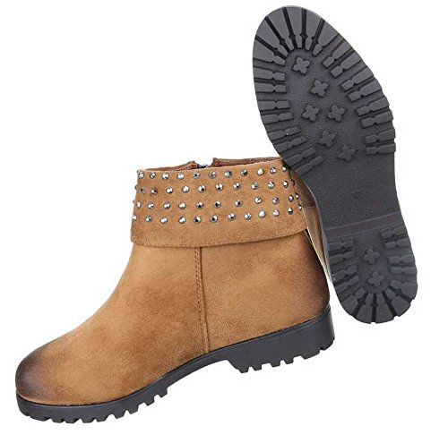 Damen Boots Stiefeletten Schuhe Mit Strass Schwarz Camel Braun 36 37 38 39 40 41 Camel