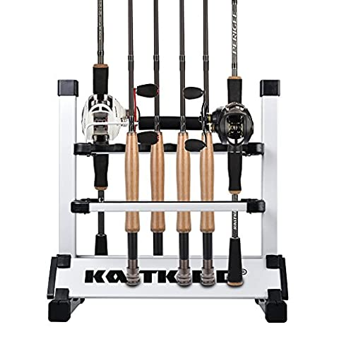 KastKing Fishing Rod Rack – Perfect Fishing Rod Holder - Holds Up to 24 Rods - Lightweight Aluminum – Easy Assembly - Minimal Floor Space – 24 Rod Rack for All Types of Fishing Rods and Combos/ 12 Rod Rack for Freshwater Rods - ICAST Award Winner